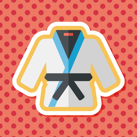 martial artist: Karate suit flat icon with long shadow,eps10