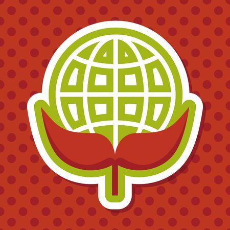 protección: Concepto de protecci�n del medio ambiente icono plana con una larga sombra, eps10; Proteger nuestro medio ambiente, proteger nuestro planeta Vectores