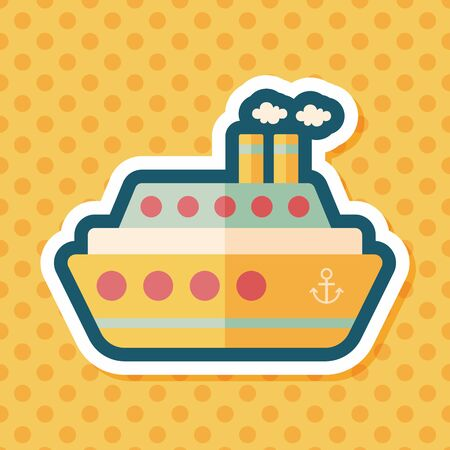 ferry boat: Transportation ferry flat icon with long shadow,eps10 Illustration