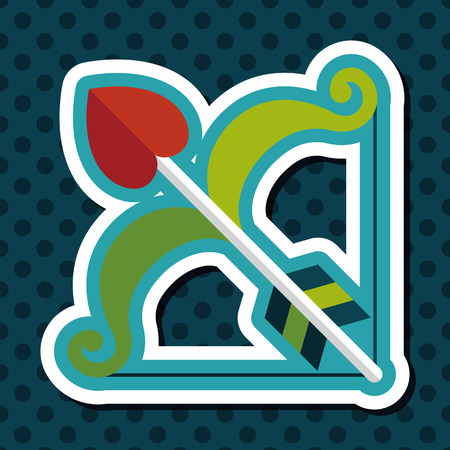 cupido: valentines day Cupid bow and arrow flat icon with long shadow,eps10 Illustration