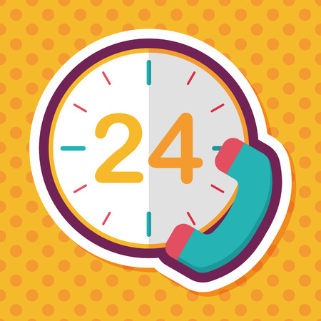 comunication: 24 hours customer phone service flat icon with long shadow,eps10 Illustration