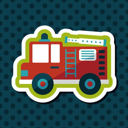 firetruck: Transportation Fire truck flat icon with long shadow,eps10