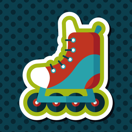 rollerblades: roller skates flat icon with long shadow,eps10