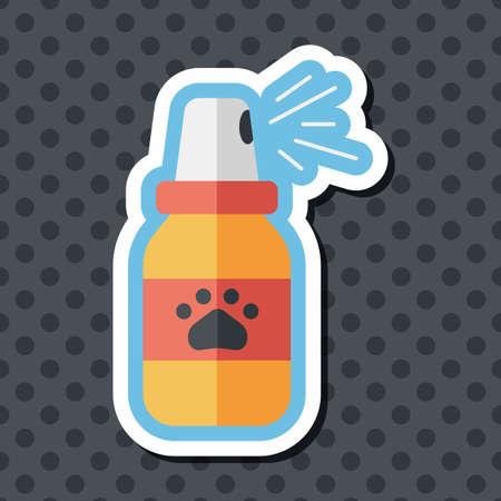 flea: Pet flea sprays flat icon wtih long shadow, eps10 Vectores