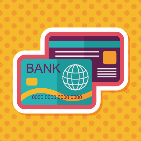 bank activities: credit card flat icon with long shadow,eps10