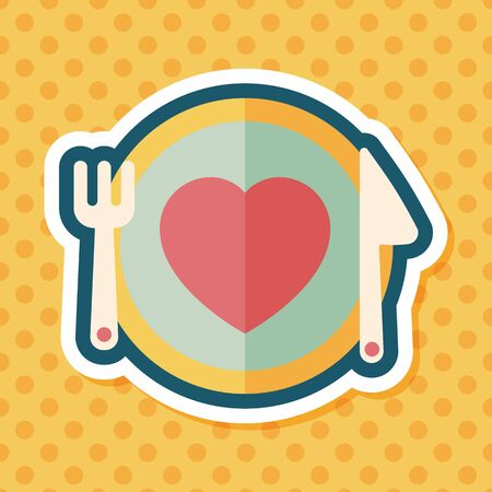 setting table: Valentines Day flat icon with long shadow,eps10