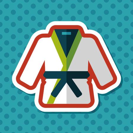 karateka: Karate suit flat icon with long shadow,eps10