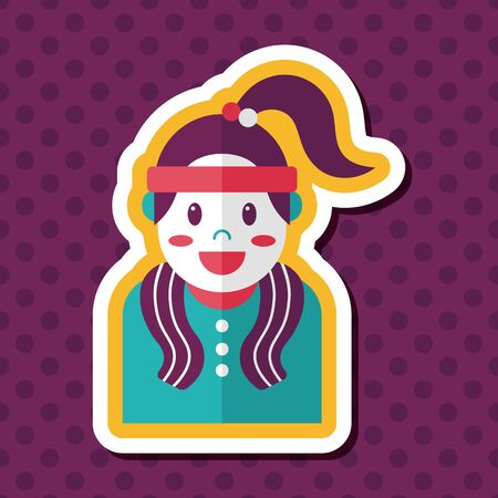 sporty: sporty girl flat icon with long shadow,eps10