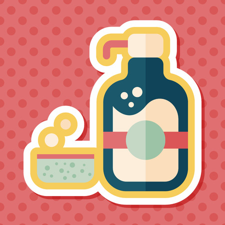 dish washing: kitchenware dish soap flat icon with long shadow,eps10 Illustration