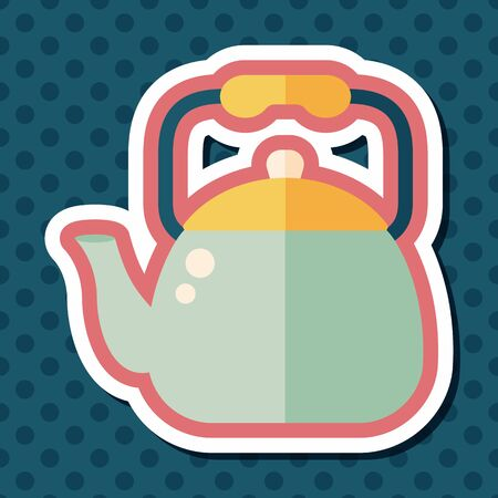 teakettle: kitchenware tea pot flat icon with long shadow,eps10