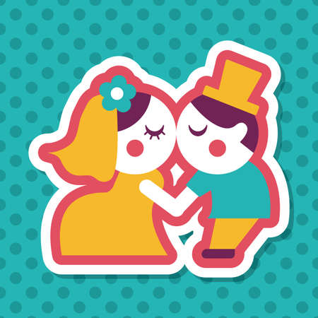 wedding couple: wedding couple flat icon with long shadow,eps10