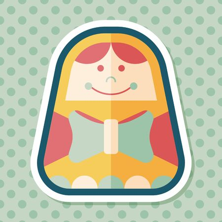 russian doll: Russian Doll flat icon with long shadow,eps 10