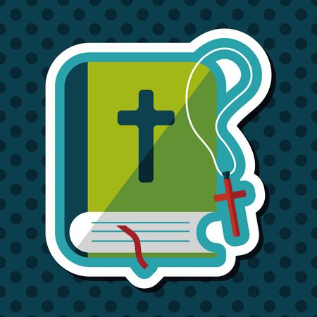 christian halloween: bible flat icon with long shadow,eps10 Illustration