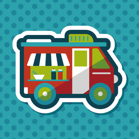 vendors: Transportation vendor carts flat icon with long shadow,eps10