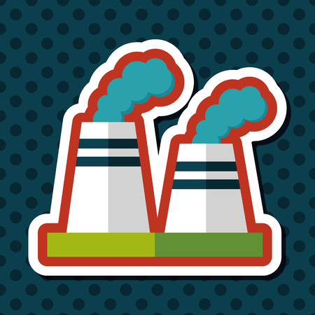 emission: Environmental protection concept flat icon with long shadow,eps10; The factory do well on emission to not pollute the air and environment