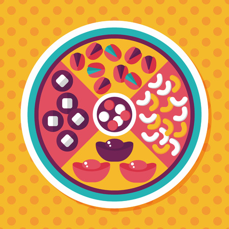 Chinese New Year flat icon with long shadow,eps10, Chinese desserts plate include nuts, candies and cookies.