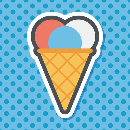 helado cucurucho: icono plana helado con larga sombra, eps10