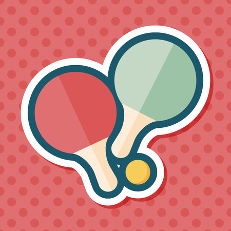 table tennis: table tennis racket flat icon with long shadow,eps10 Illustration