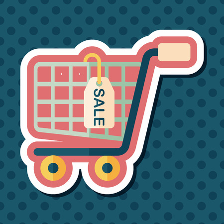 product cart: shopping cart flat icon with long shadow,eps10