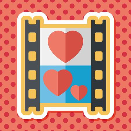 love: wedding film flat icon with long shadow,eps10