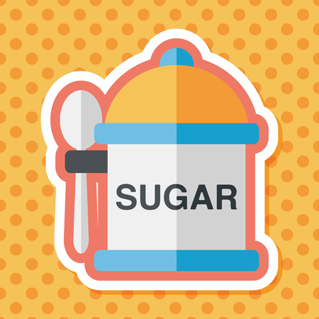 flavoring: kitchenware sugar flat icon with long shadow,eps10