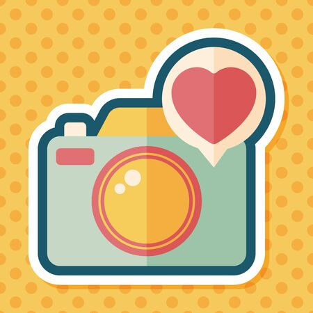 camera: Valentines Day photo camera flat icon with long shadow,eps10