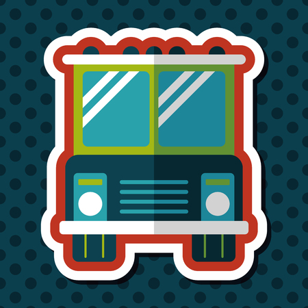 vector school: Transportation bus flat icon with long shadow,eps10