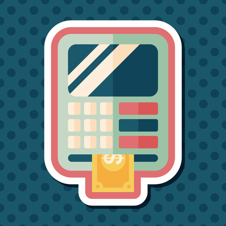 automatic transaction machine: ATM flat icon with long shadow,eps10