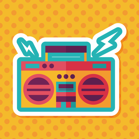 ghetto blaster: ghetto blaster audio flat icon with long shadow,eps10