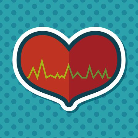 ecg heart: ECG heart flat icon with long shadow Illustration