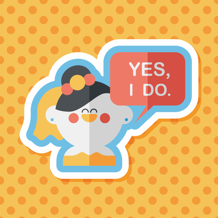vow: wedding yes i do words from bride flat icon with long shadow,eps10 Illustration
