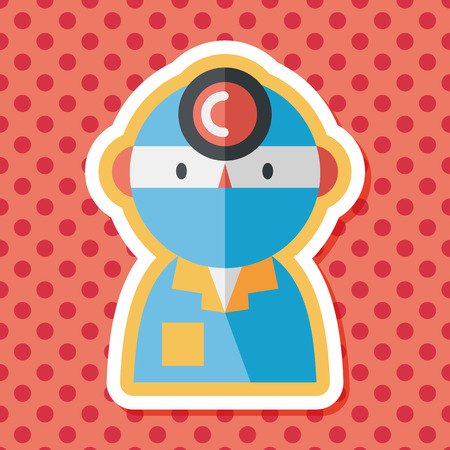 surgical nurse: medical people with stethoscopes flat icon with long shadow Illustration