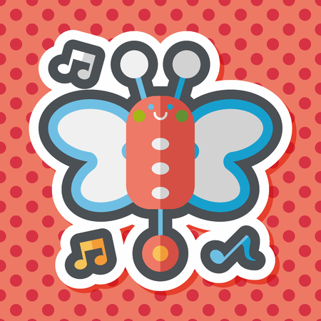 funny pictures: Butterfly music toy flat icon with long shadow,eps10