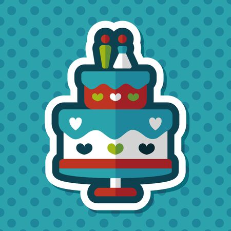 cake decorating: wedding cake flat icon with long shadow,eps10 Vectores