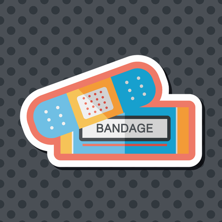 white patches: medical bandage flat icon with long shadow
