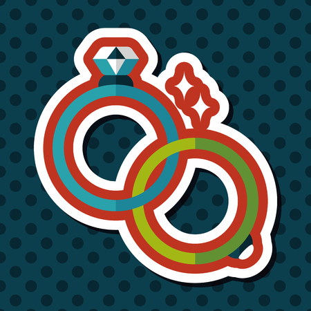 diamond rings: Propose couple diamond ring flat icon with long shadow,eps10 Illustration