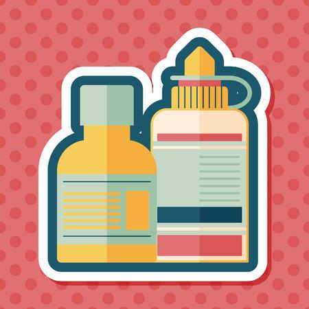 medical bottle: Medical Bottle flat icon with long shadow Illustration