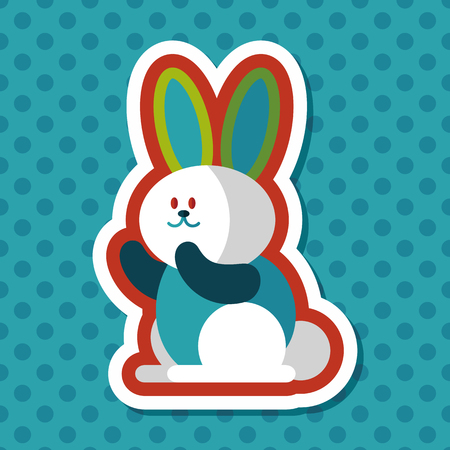 coney: Rabbit flat icon with long shadow,eps 10