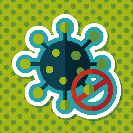 virus: virus flat icon with long shadow