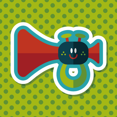 baby playing toy: trumpet or horn toy flat icon with long shadow,eps10