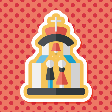 be married: wedding ceremony in chruch flat icon with long shadow,eps10