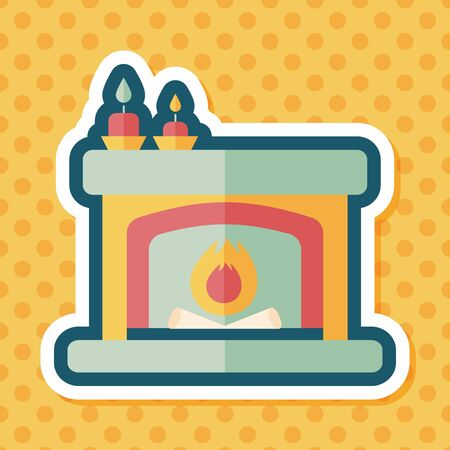 mantelpiece: Christmas fireplace flat icon with long shadow,eps10