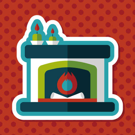 christmas fireplace: Christmas fireplace flat icon with long shadow,eps10