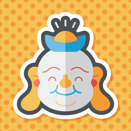 monasticism: Chinese New Year flat icon with long shadow,eps10, Maitreya means Bless you have wealth, monasticism and popularity.