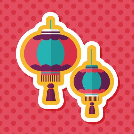 eastern religion: Chinese New Year flat icon with long shadow,eps10, Chinese decorative lantern