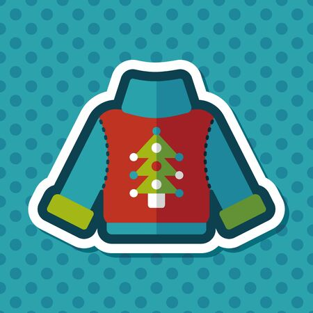 casual wear: Sweater flat icon with long shadow, eps10 Illustration