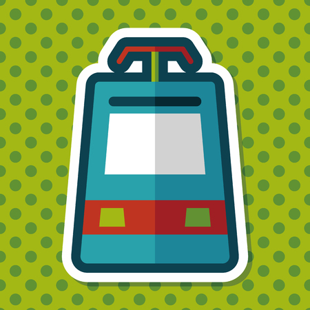 commuter: speed train flat icon with long shadow