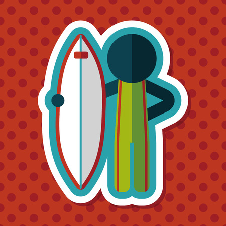 somersault: surfing flat icon with long shadow Illustration