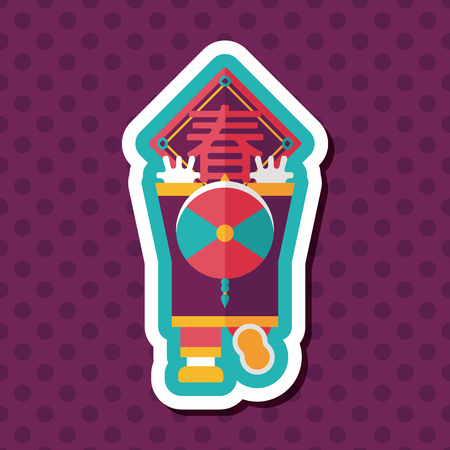 spring festival couplets: Chinese New Year flat icon with long shadow,eps10, the little boy to stick couplets, Chinese festival couplets means  wish Spring comes.