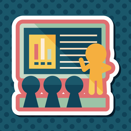 lecture hall: Speaker at business workshop flat icon with long shadow,eps10